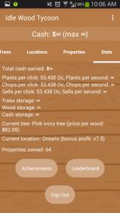 Idle Wood Tycoon Infinite Stats